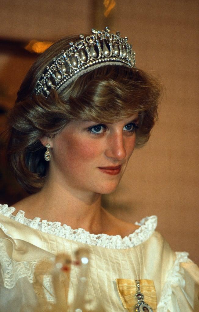 Princess Diana Wearing Blue Eyeliner in 1983