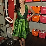 Rose McGowan got flirty in a brightly hued Juan Carlos Obando dress and silver-spiked Louboutins.