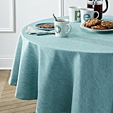 """Linden Aqua 90"""" Round Tablecloth ($90)"""