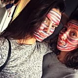 Kendall Jenner and a friend painted their faces. Source: Instagram user kendalljenner