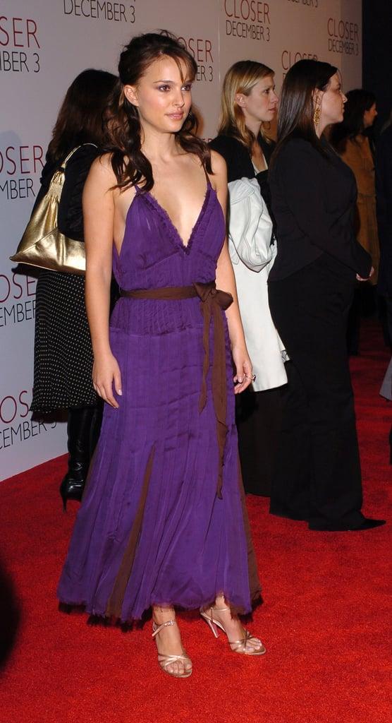 Natalie Portman in a Purple Dress at the 2004 Closer LA Premiere