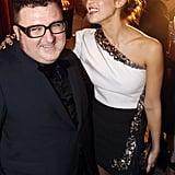 Jessica Alba said hello to Lanvin's Alber Elbaz.