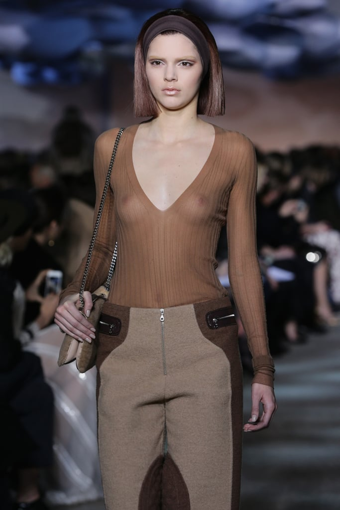 Kendall Jenner wore a very sheer shirt while walking in the Marc Jacobs show at New York Fashion Week.