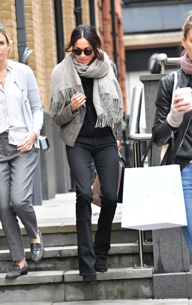 To add more fuel to the rumors that Meghan Markle's moving in with Prince Harry, she was spotted holiday shopping in London on Nov. 21. The star attempted to stay incognito with a pair of sunglasses, but we totally noticed her casual Fall outfit. Meghan wore a gray leather jacket, wrapping herself in a Sentaler scarf Angelina Jolie-style. For extra warmth, she layered a black sweater underneath and wore a pair of frayed jeans from Mother Denim. The actress looked quite cozy bundled up as she shopped. Meghan has risen in the ranks as a style star to watch thanks to her affordable ensembles. She also has the same taste in designers as Kate Middleton, which doesn't hurt. If Meghan does move to Kensington Palace, however, we have a feeling her style won't ever be the same. Read on to see her outfit, then shop her exact pieces, plus similar selections.       Related:                                                                                                           Meghan Markle's Airport Shoes Were Designed to Make You Look Twice