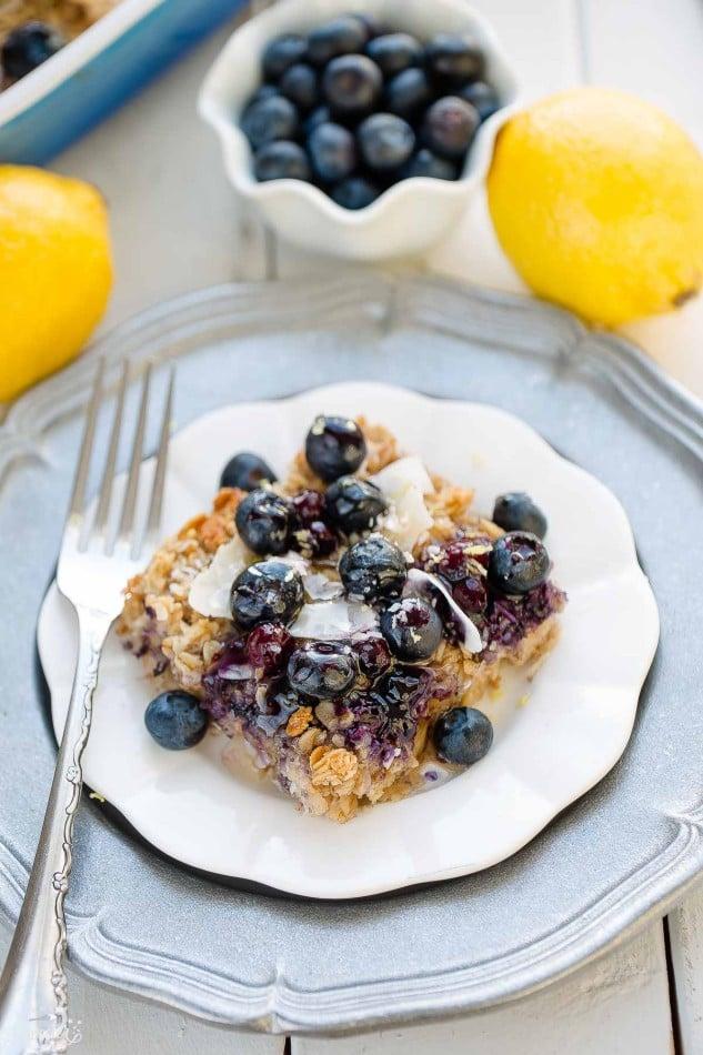 Blueberry Lemon Coconut Baked Oatmeal