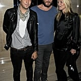 Kate Moss and husband Jamie Hince with designer James Small.