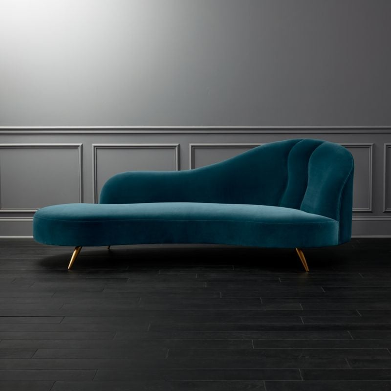 Ursula: Copine Peacock Velvet Curved Chaise Lounge