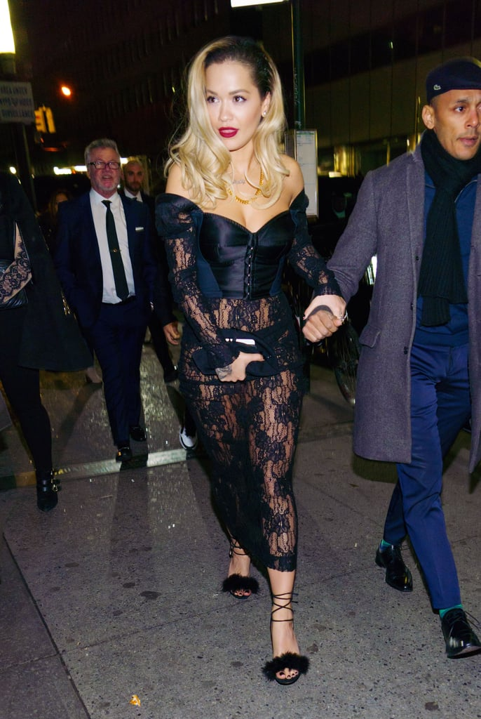 Rita Ora Sheer Lace Dress Grammys Afterparty 2018