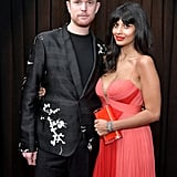 Jameela Jamil Goldfish Earrings at the 2019 Grammys