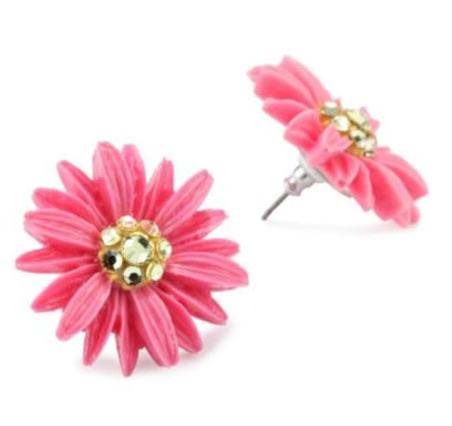 Tarina Tarantino Classic Pink Daisy Cake Post Earrings ($38)