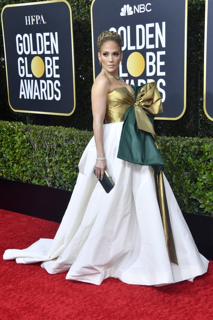 Every inch of Jennifer Lopez's Golden Globes look on Jan. 5 made a statement; from her head down to her toes. The 50-year-old Hustlers actress walked Sunday night's red carpet alongside fiancée Alex Rodriguez, and while her gown is certainly eye-catching, it's hard to pull your eyes away from the intricately braided bun on top of her head.  Lopez is certainly no stranger to a well-placed high-bun, but this hairstyle belongs in a league of its own. Her stylist credits Dyson and Colour Wow hair products for the achieved look. The best supporting actress nominee definitely brought the drama and glamour, especially when the bun paired with her smoky-eye makeup from Scott Barnes. Ahead, get a closer look at Lopez's hair and makeup look for the night.      Related:                                                                                                           Every Stunning Red Carpet Look From the 2020 Golden Globes