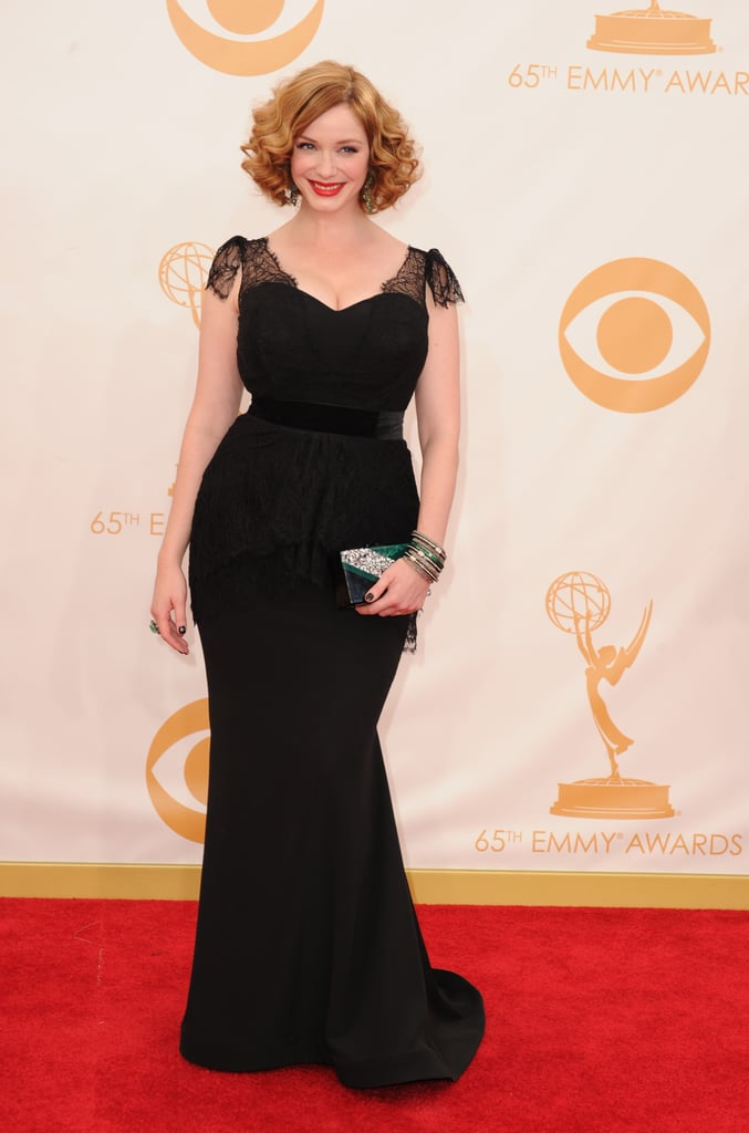 Christina Hendricks went for all black in a Christian Siriano gown. Her final touches came from an Edie Parker bag and Lorraine Schwartz jewelry.