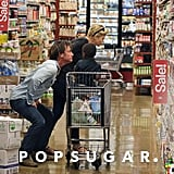 Happy couple Charlize Theron and Sean Penn took her son, Jackson, on a family grocery shopping trip at Whole Foods in LA.