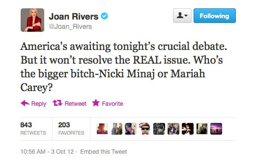 The only debate Joan Rivers is interested in is the one heating up on American Idol.