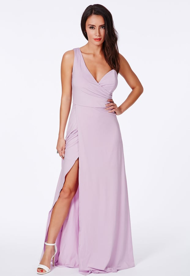 Missguided lilac one-shoulder split dress (£35)