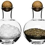Sagaform® Oval Oak Spice/Herb Bottles, 2 Pack — Clear With Oak Stoppers