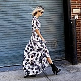 A Long-Sleeved Maxi Dress and Lace-Up Booties