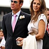 Elizabeth Hurley and Shane Warne arrived at a racetrack in Melbourne together.