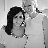 Demi Lovato posed with Cosmopolitan Editor in Chief Joanna Coles on the set of her photo shoot for the magazine. Source: Twitter user ddlovato