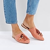 Glamorous Pink Tassle Flat Mules