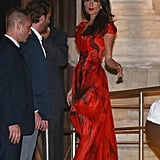 Amal wore Alexander McQueen for her wedding weekend in Venice in 2014. She models a top from the fashion house on her Vogue cover, too, and has worn various other designs from the British label.
