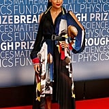 A belted silk gown by Schiaparelli was Thandie's choice for the Breakthrough Prize.
