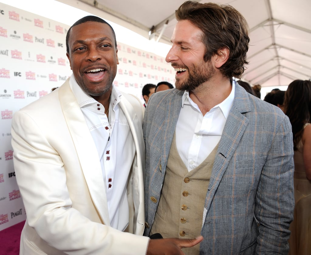 Bradley Cooper was in good spirits at the Independent Spirit Awards in Santa Monica, CA, today, sporting a stylish three-piece suit. The actor joined Bryan Cranston on the carpet for a pleasant exchange that had both actors laughing, then caught up with his Silver Linings Playbook costar Chris Tucker. Their film is up for several big awards today, including best feature, best screenplay, and best actor for Bradley.  Silver Linings Playbook and Beasts of the Southern Wild are the only best feature nominees that are also up for a best picture Oscar tomorrow. Bradley is also in the running for the Academy's best actor award, and he'll face off with Daniel Day-Lewis, Hugh Jackman, Joaquin Phoenix, and Denzel Washington for the honor.