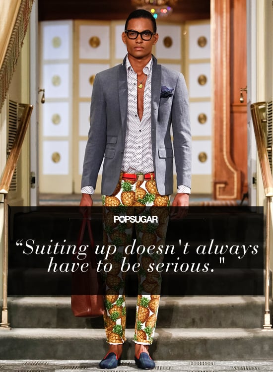 """""""In 2014, I'm going to start wearing a blazer and tucking in my shirt — even on days when I don't have anyone to impress. But I'm going to keep in mind that suiting up doesn't always have to be serious, and there's no menswear designer who demonstrates that better than Michael Bastian."""" — Justin Fenner, associate editor"""