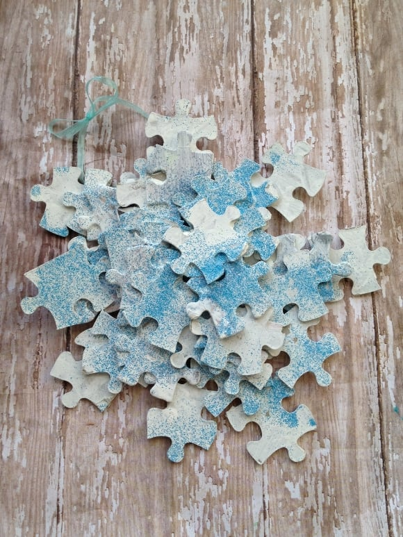 Puzzle Piece Snowflake Ornaments