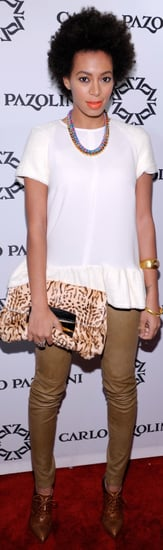 Solange Knowles Tan Leather Pants