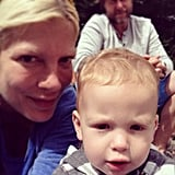 Tori Spelling snapped a quick selfie with baby Finn. Source: Instagram user torianddean