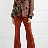 Prada Leather-Trimmed Studded Checked Wool-Blend Tweed Jacket