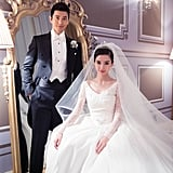 Angelababy and Huang Xiaoming posed for their regal wedding photo.
