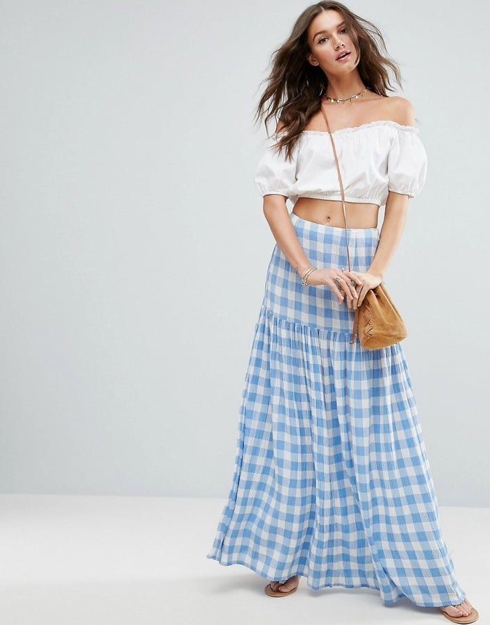 Asos High Waisted Maxi Skirt In Gingham