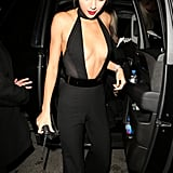 All eyes were on Kendall as she entered her birthday party in a low-cut black jumpsuit.