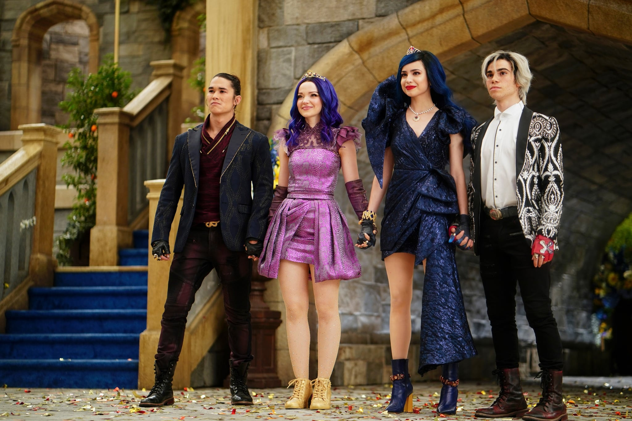 DESCENDANTS 3, from left: BooBoo Stewart, Dove Cameron, Sofia Carson, Cameron Boyce, (aired August 2, 2019), photo: David Bukach / Disney Channel / courtesy Everett Collection