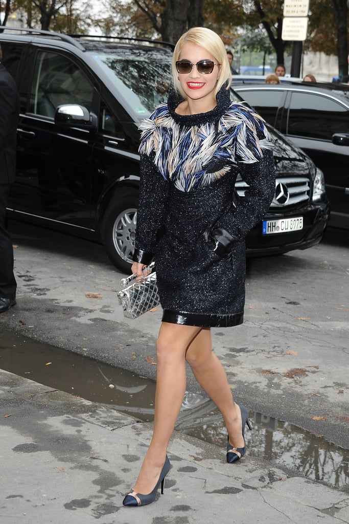 Rita Ora arrived at the Chanel 2014 fashion show.