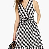 J.Crew Faux Wrap Gingham Cotton Poplin Dress