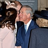 Prince Charles and Kate shared a friendly kiss in 2015.