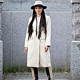 Fall Outfit Idea: Hat + Trench Coat + Boots