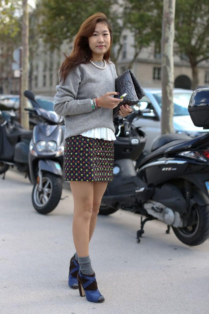 A printed mini and Miu Miu booties gave this Fall knit major cool factor.