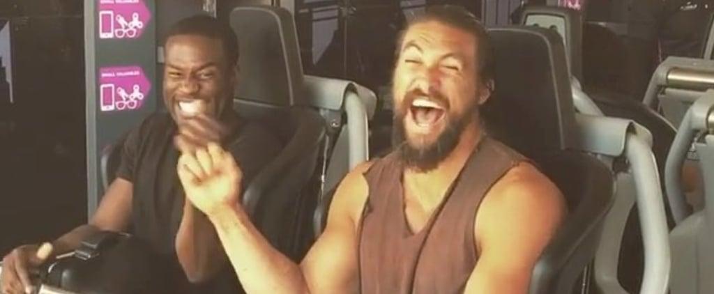 Jason Momoa and Aquaman Cast on Roller Coaster