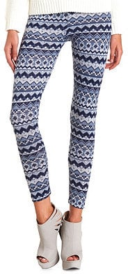 Charlotte Russe Print Fleece Leggings
