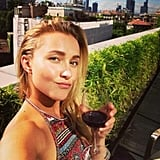 Hayden Panettiere enjoyed a glass of wine upon arriving in Milan, Italy. Source: Twitter user haydenpanettier