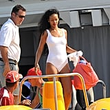 Rihanna sported a white one-piece on vacation in the South of France in July.
