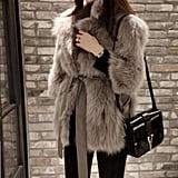Sungpunet Faux Fox Fur Coat