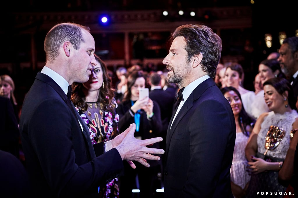 "I think I speak for everyone when I say that I was surprised to find out that Bradley Cooper actually sings in A Star Is Born, and apparently, so was Prince William. While attending the BAFTA Awards with Kate Middleton on Sunday, the Duke of Cambridge linked up with Bradley and congratulated him on the success of the film. ""Congratulations, it's a great film,"" William told Bradley, adding, ""I didn't know you could sing!""  Bradley also admitted to William that he didn't originally have Lady Gaga in mind to play Ally, but that all changed once he saw her perform. A Star Is Born took home the award for best original music. Even though Lady Gaga wasn't there to celebrate (she was at the Grammys), Bradley made sure to give her sweet shout-out in his acceptance speech. Watch William and Bradley's cute exchange ahead!"