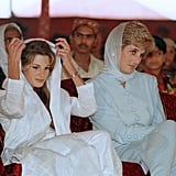 For a trip to Pakistan in 1996, Diana teamed her white head scarf with a porcelain-blue Catherine Walker outfit.