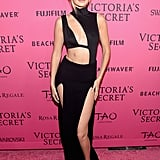 Wearing a Sally LaPointe skirt and cutout House of CB bodysuit at the Victoria's Secret afterparty.