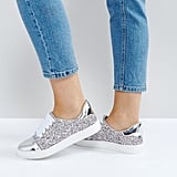 Lost Ink Wide Fit Multi Glitter Toe Cap Sneakers